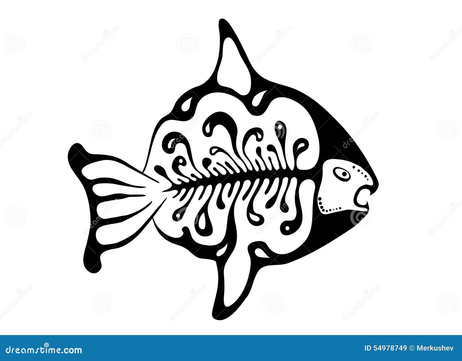 Svart fisk i den infödda stilen, vektor
