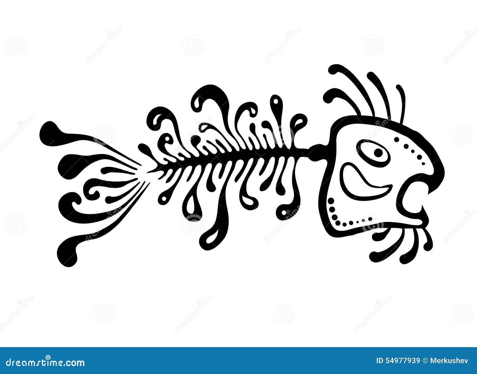 Svart fiskben, vektorillustration