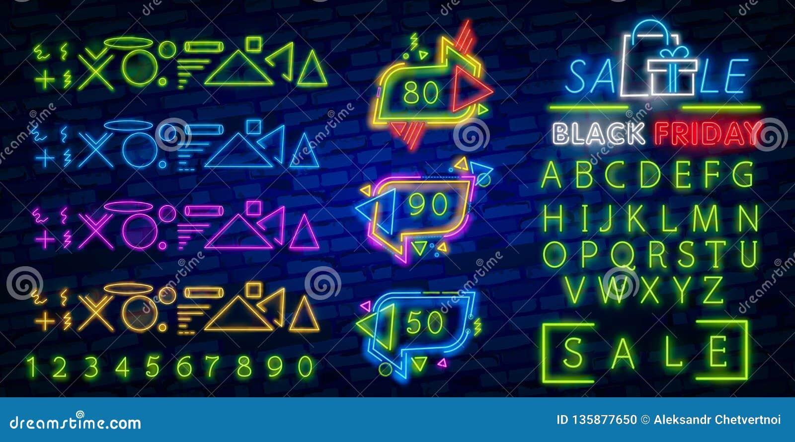 Svart fredag baner Original- affisch för rabatt Geometriska former och neon glöder mot en mörk bakgrund också vektor för coreldra
