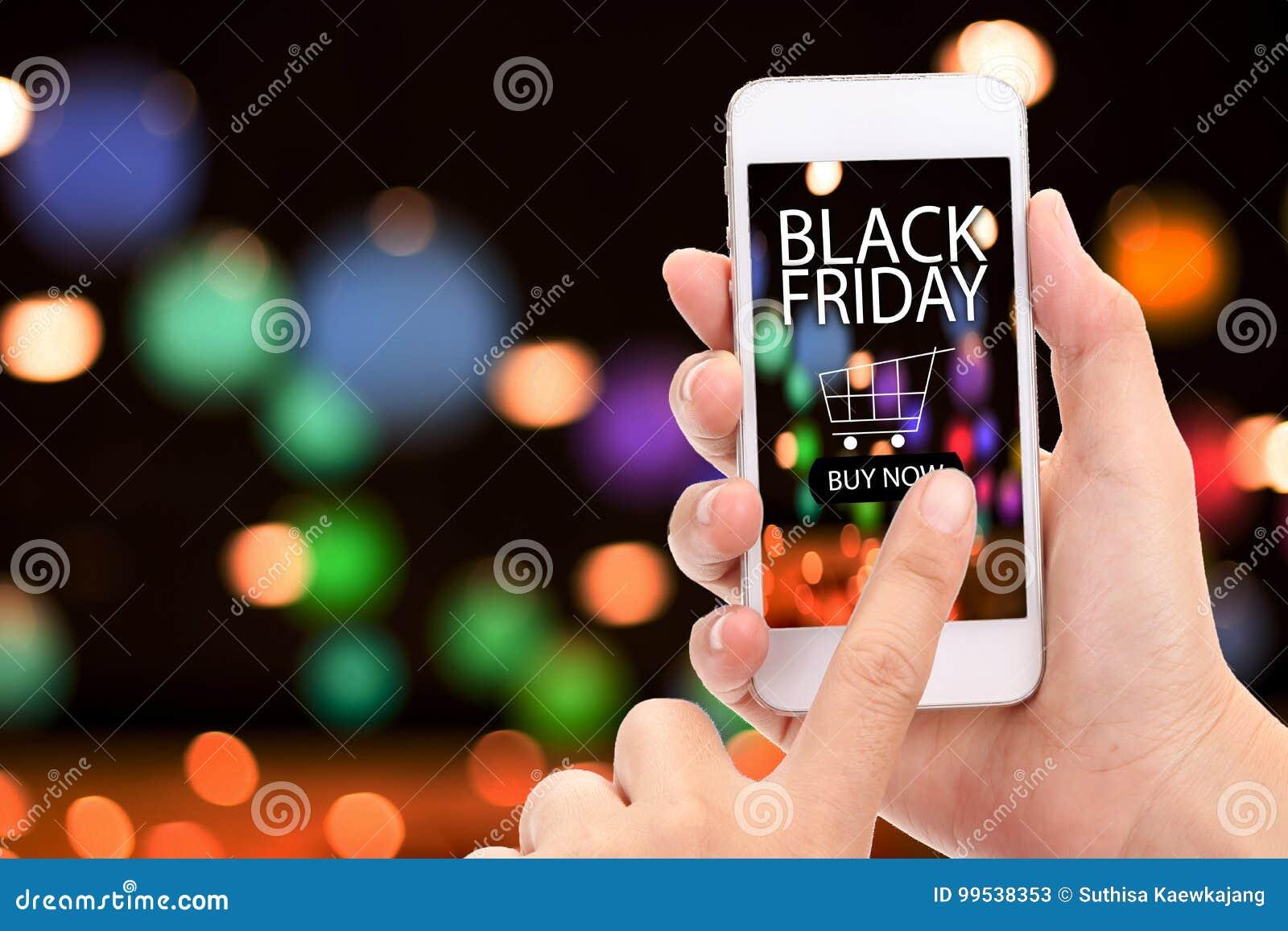 Svart fredag begrepp KÖP för kvinnahandklick NU på mobil med bl