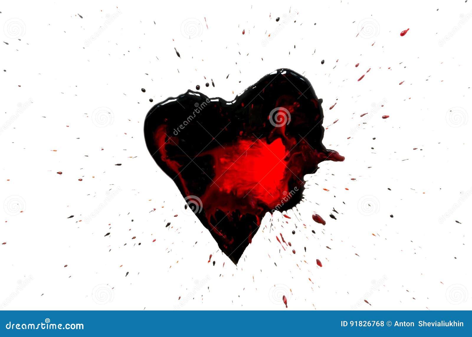 Svart hjärta med röda droppar och svart målarfärgsprej runt om isolerat