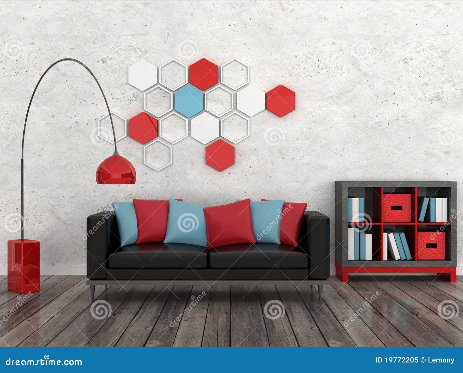 Svart inre modern white för lokalsof-vägg