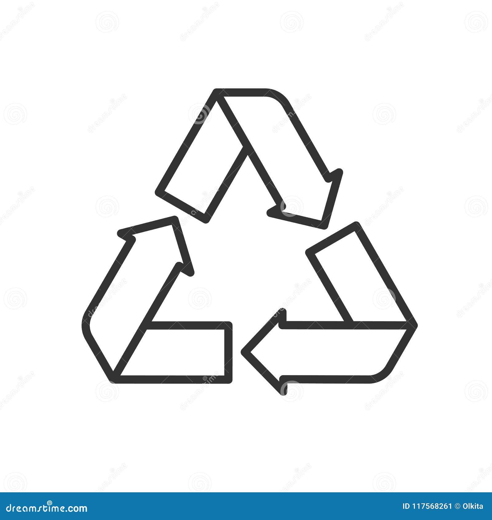 Svart isolerade översiktssymbolen av återanvänder på vit bakgrund Linje symbol av simbolen av återvinning