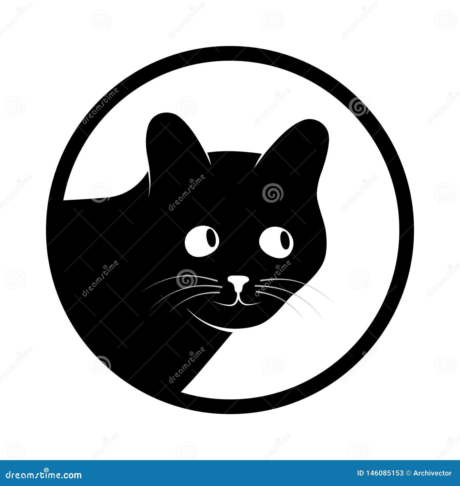 Svart katt för teckenhuvud i cirkeln