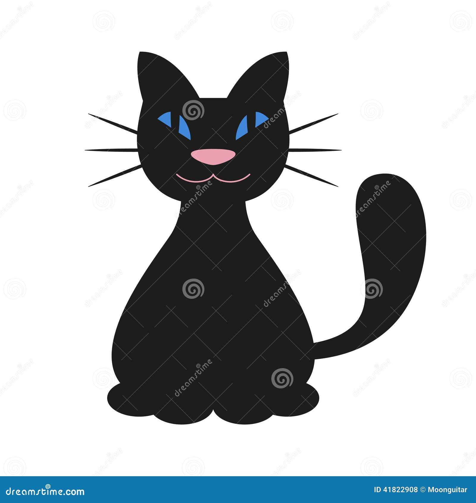 tecknad svart katt
