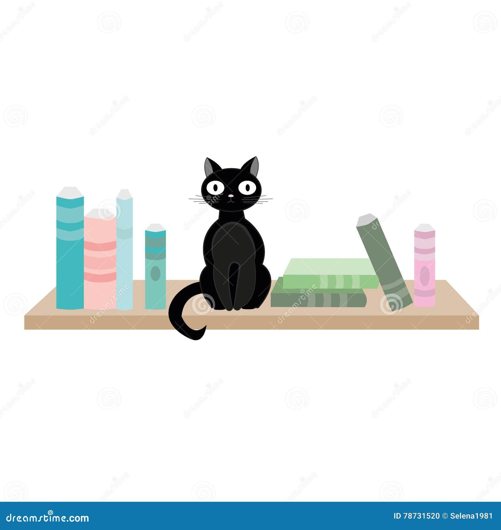 Svart katt och böcker