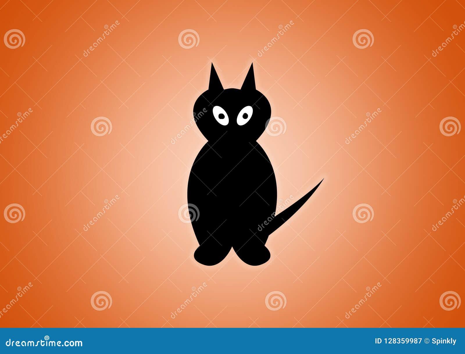 Svart katt som illustreras digitalt på orange bakgrund