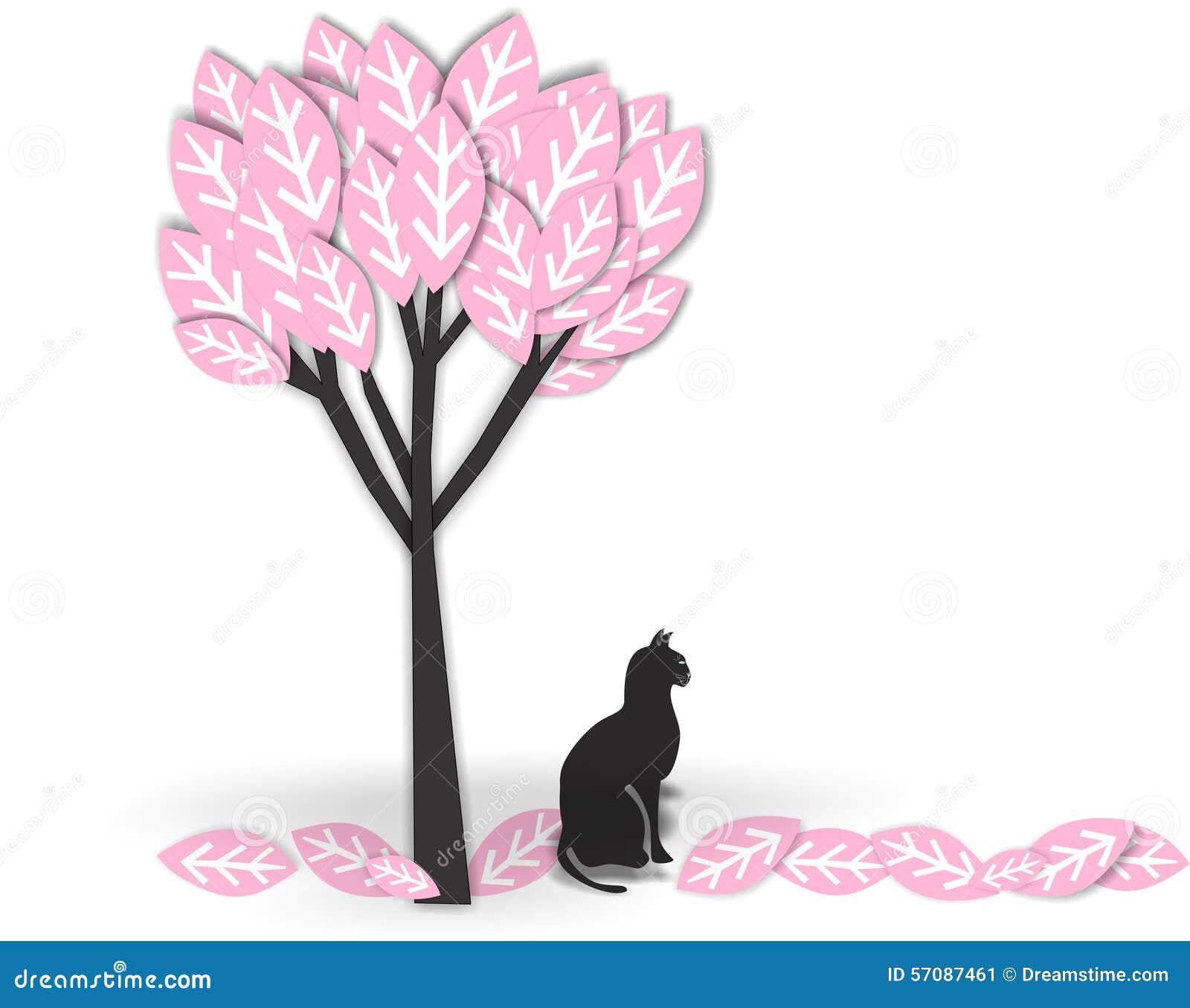 Svart katt under träd