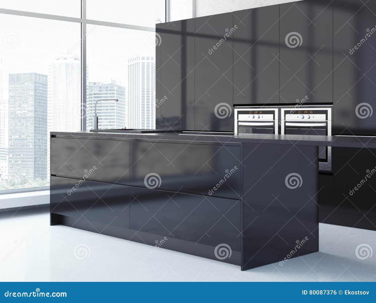 Svart kök med stora fönster framförande 3d arkivfoto   bild: 80087376