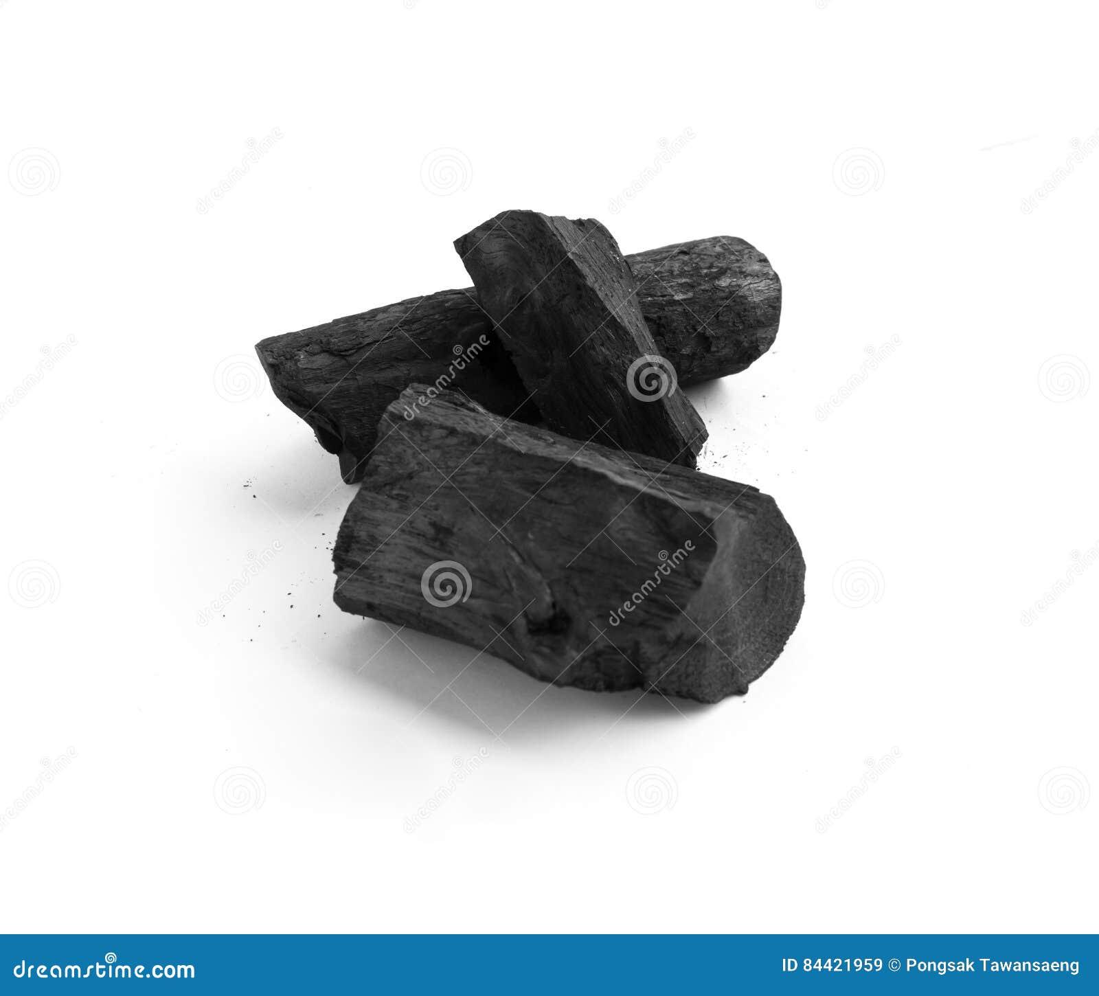 Svart kol på vit
