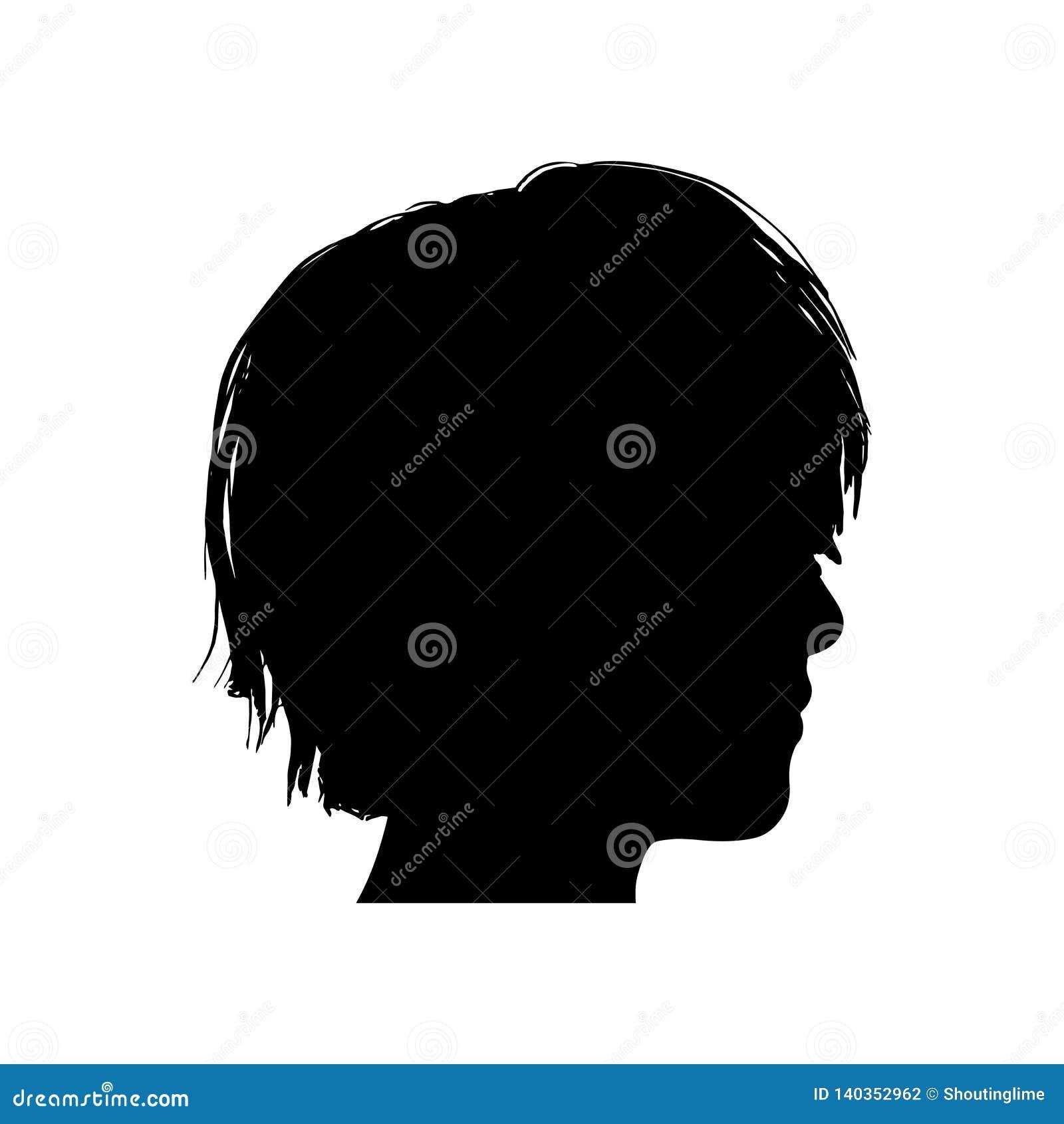 Svart kontur av ett flickahuvud