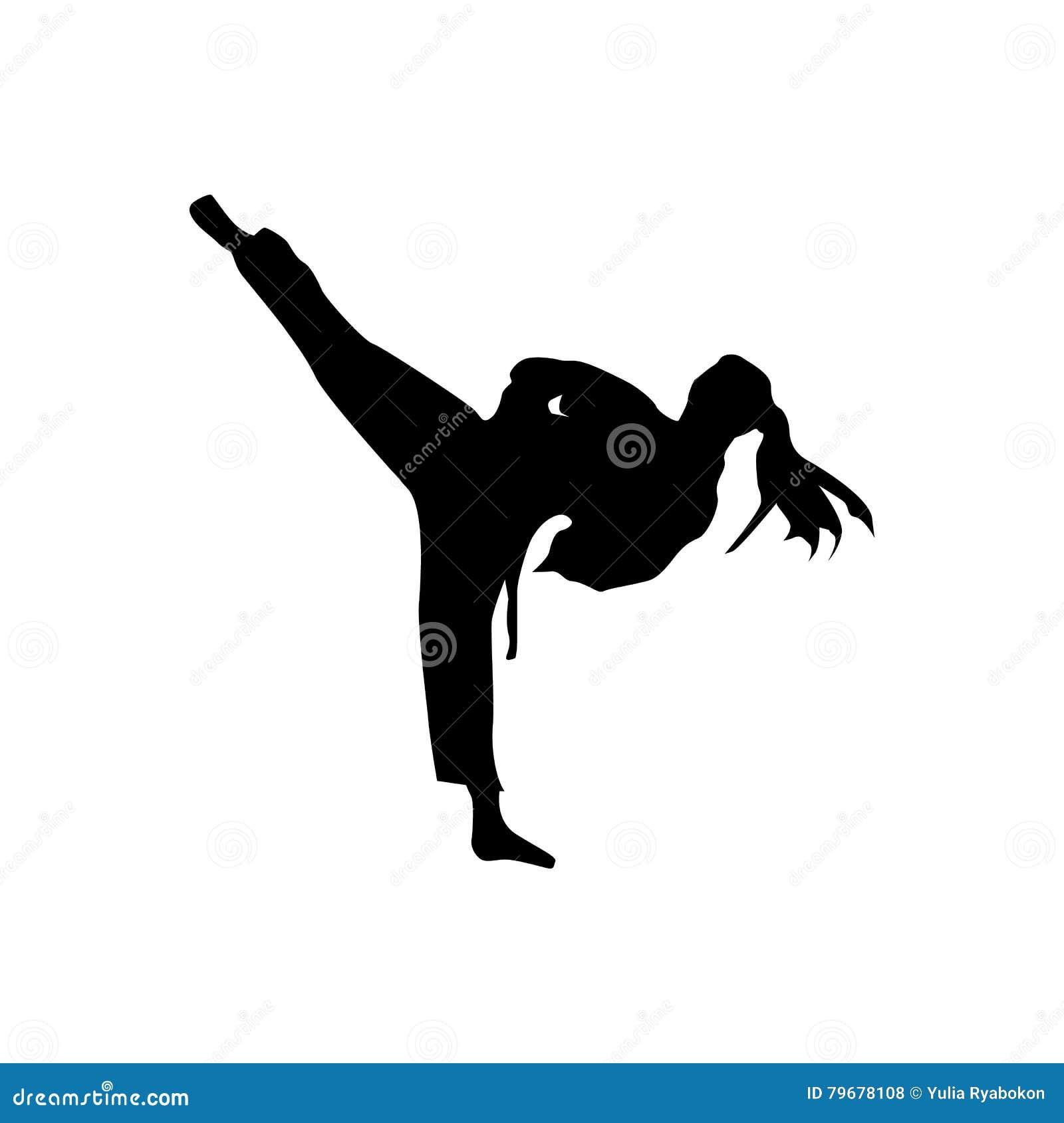 Svart kontur för karate