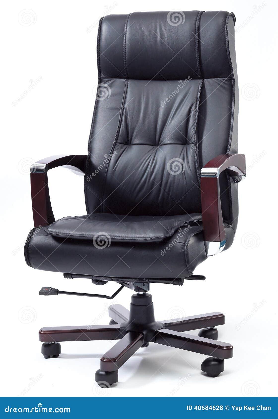Svart läderframstickande Chair