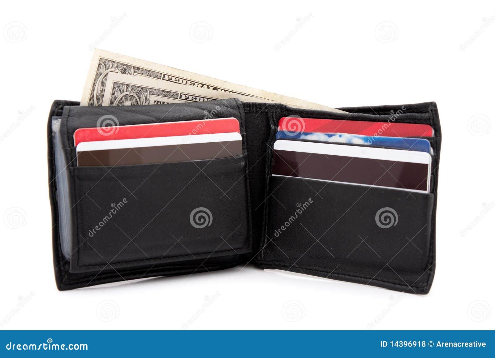 Svart läderplånbok