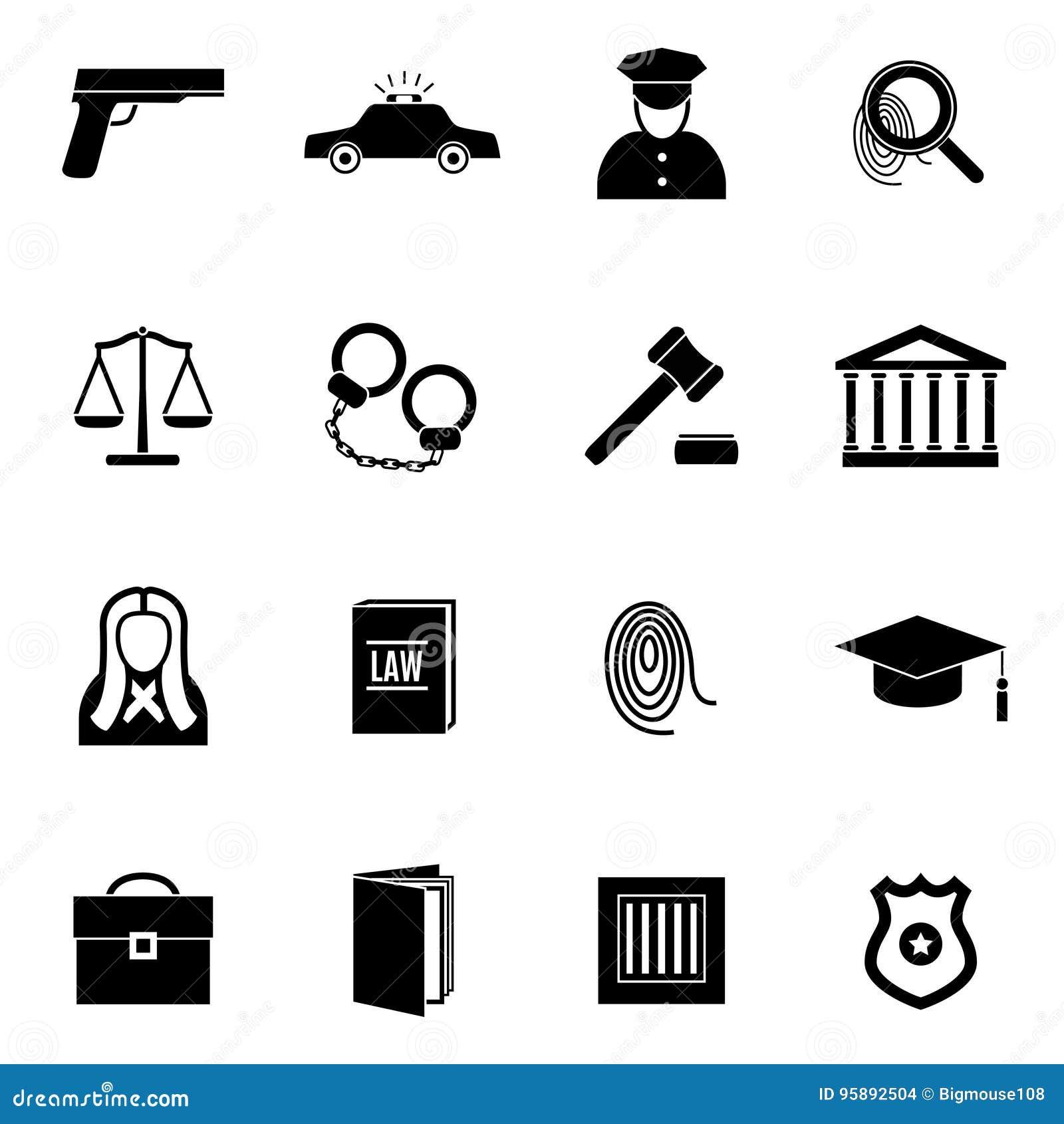 Svart lag och rättvisa Icon Set för kontur vektor
