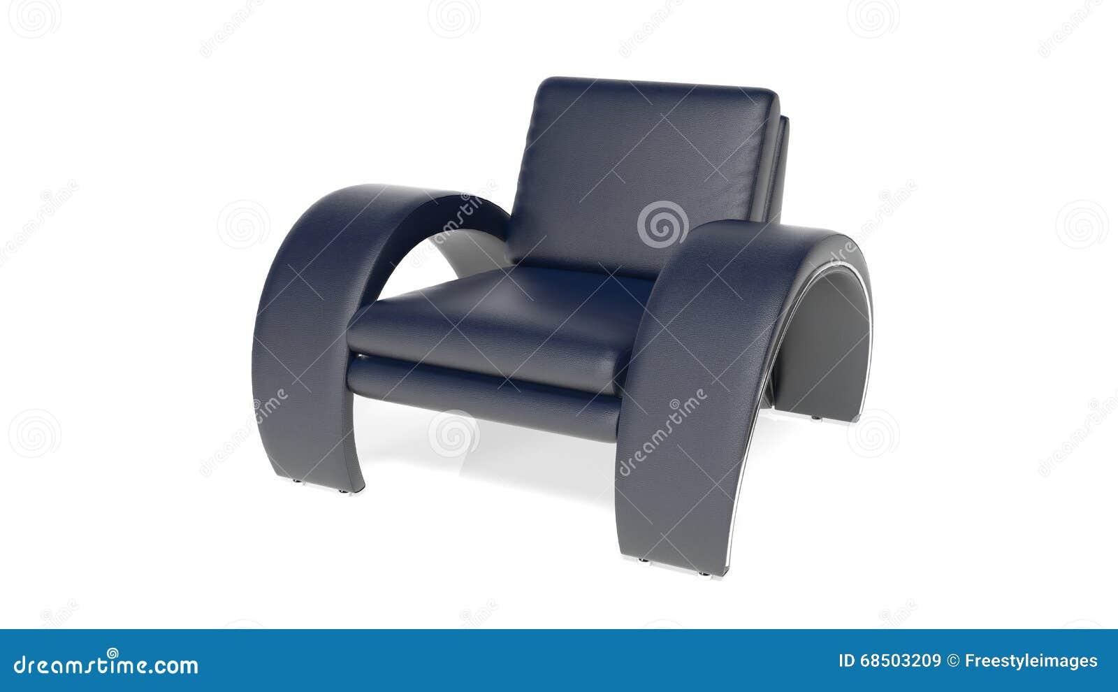 Läderfåtöljer : Svart läderfåtölj möblemang som isoleras på vit stock