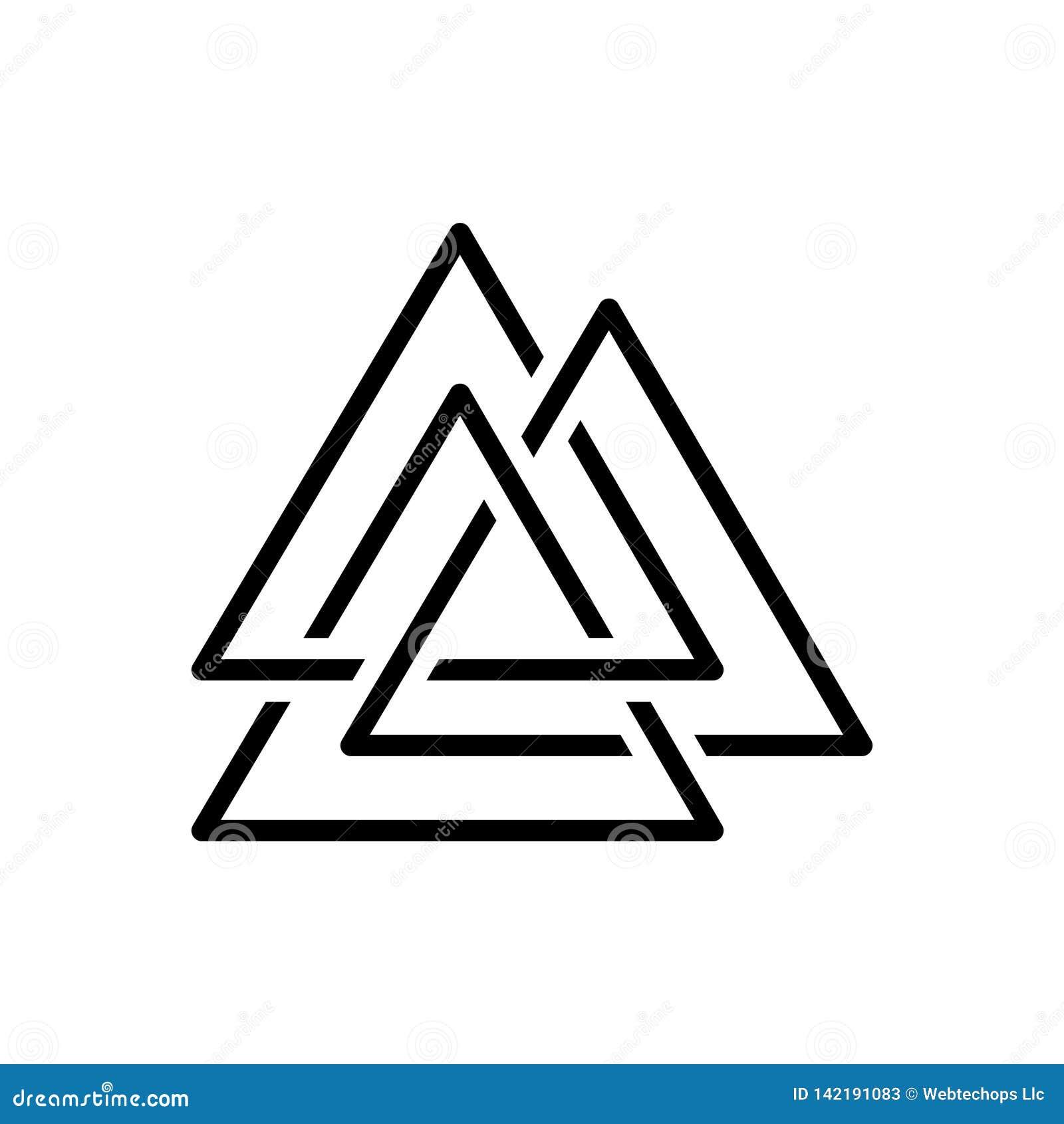 Svart linje symbol för Asgard, logo och trinity