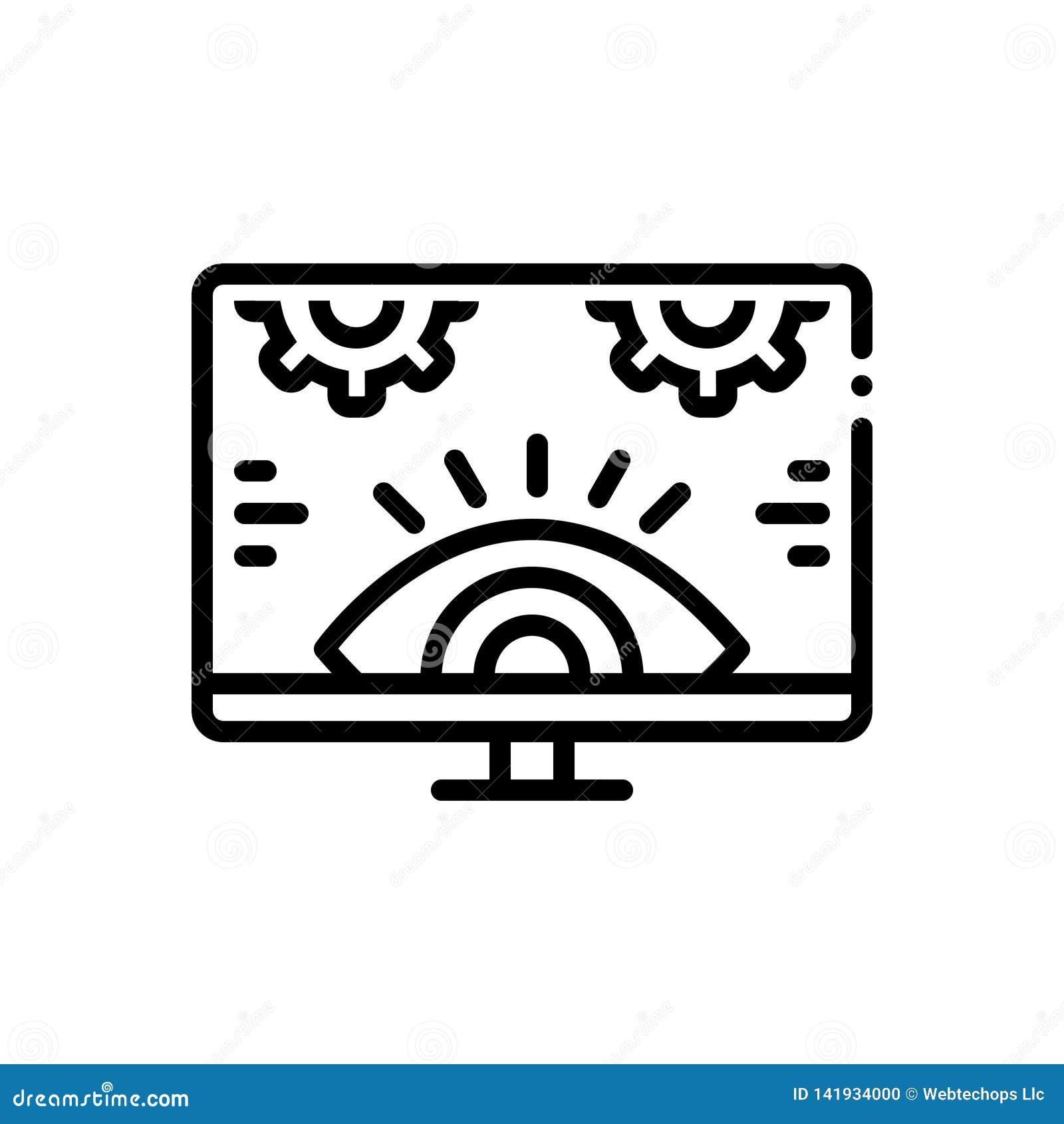Svart linje symbol för att övervaka, utredning och teknologi