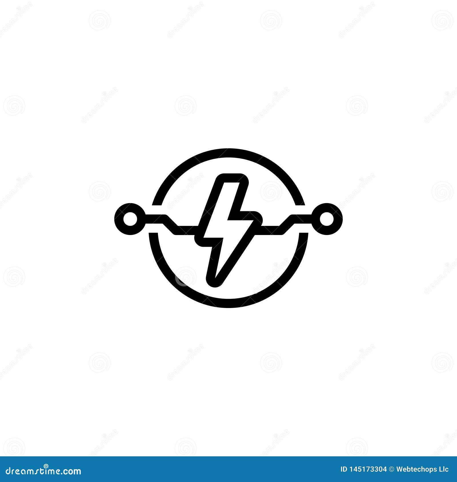 Svart linje symbol för elkraft, makt och elektricitet