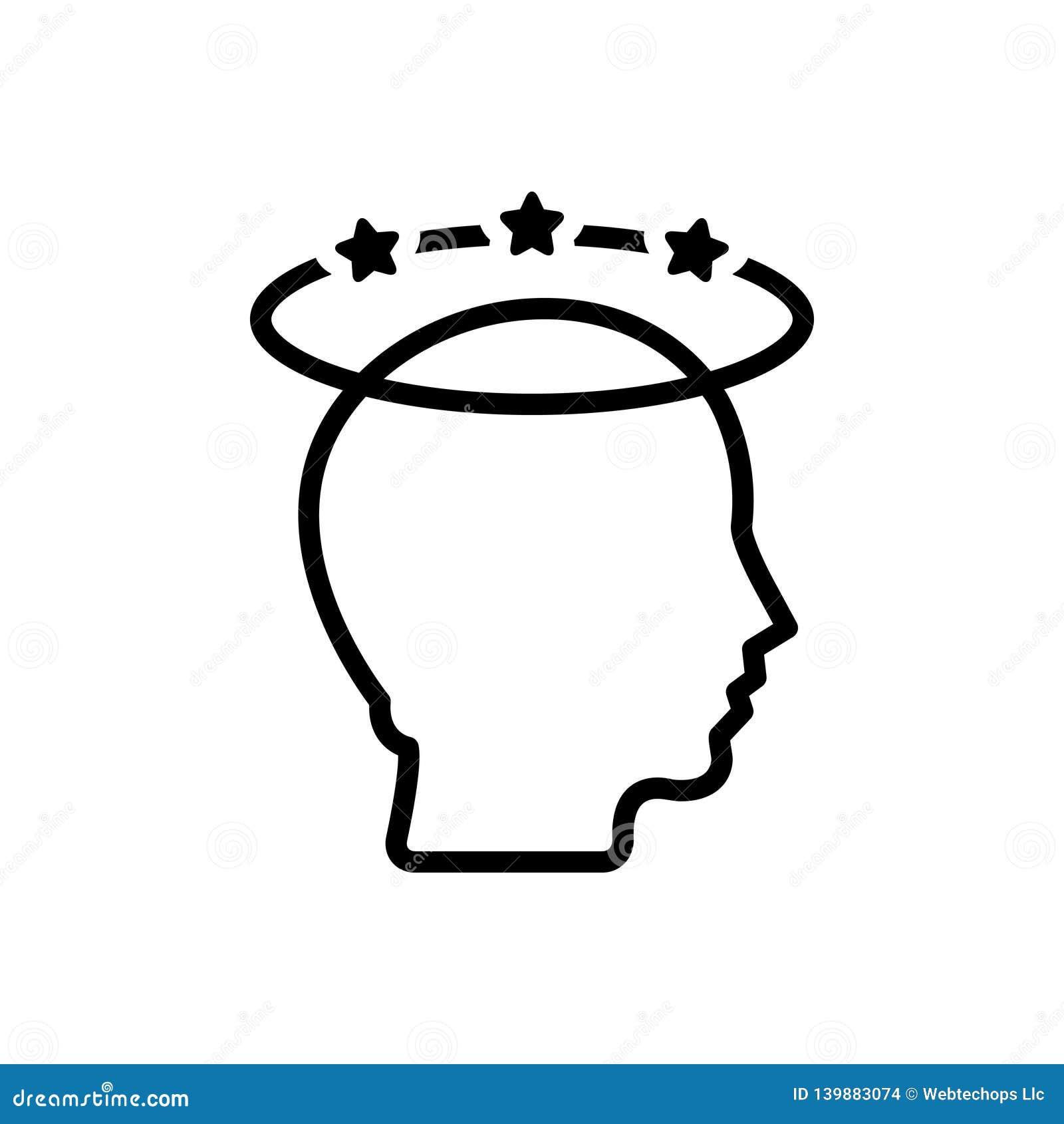 Svart linje symbol för fördjupning, migrän och spänning
