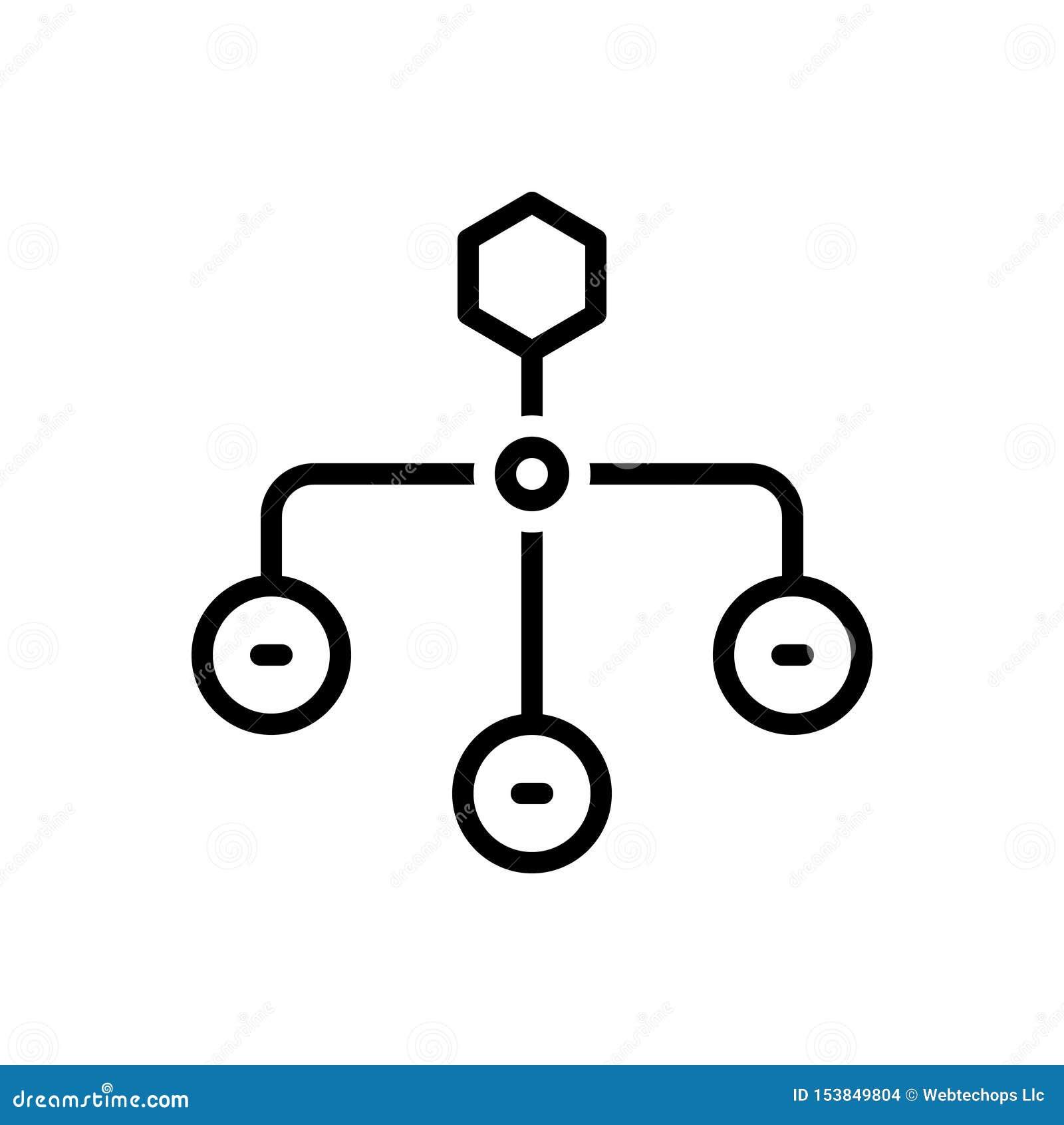 Svart linje symbol för hierarkisk struktur, sitemap och orientering