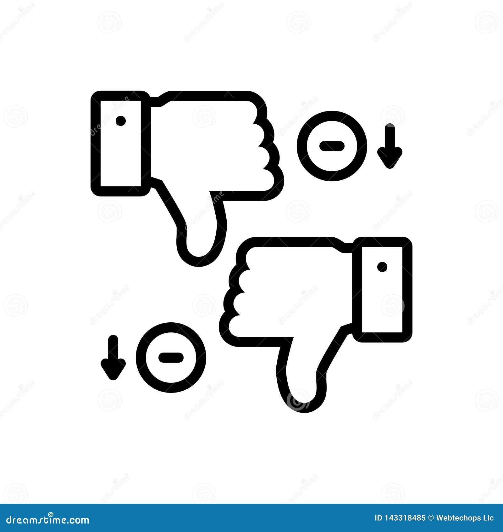 Svart linje symbol för nackdelar, olikt och tumme