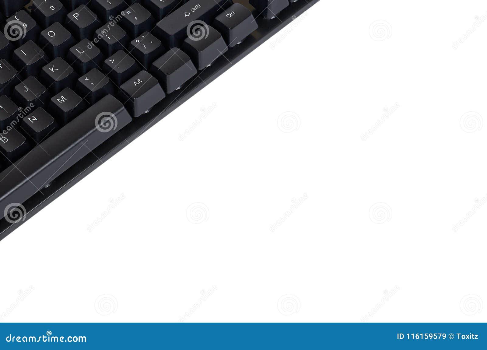 Svart mekaniskt datortangentbord bakgrund isolerad white kopiera avstånd