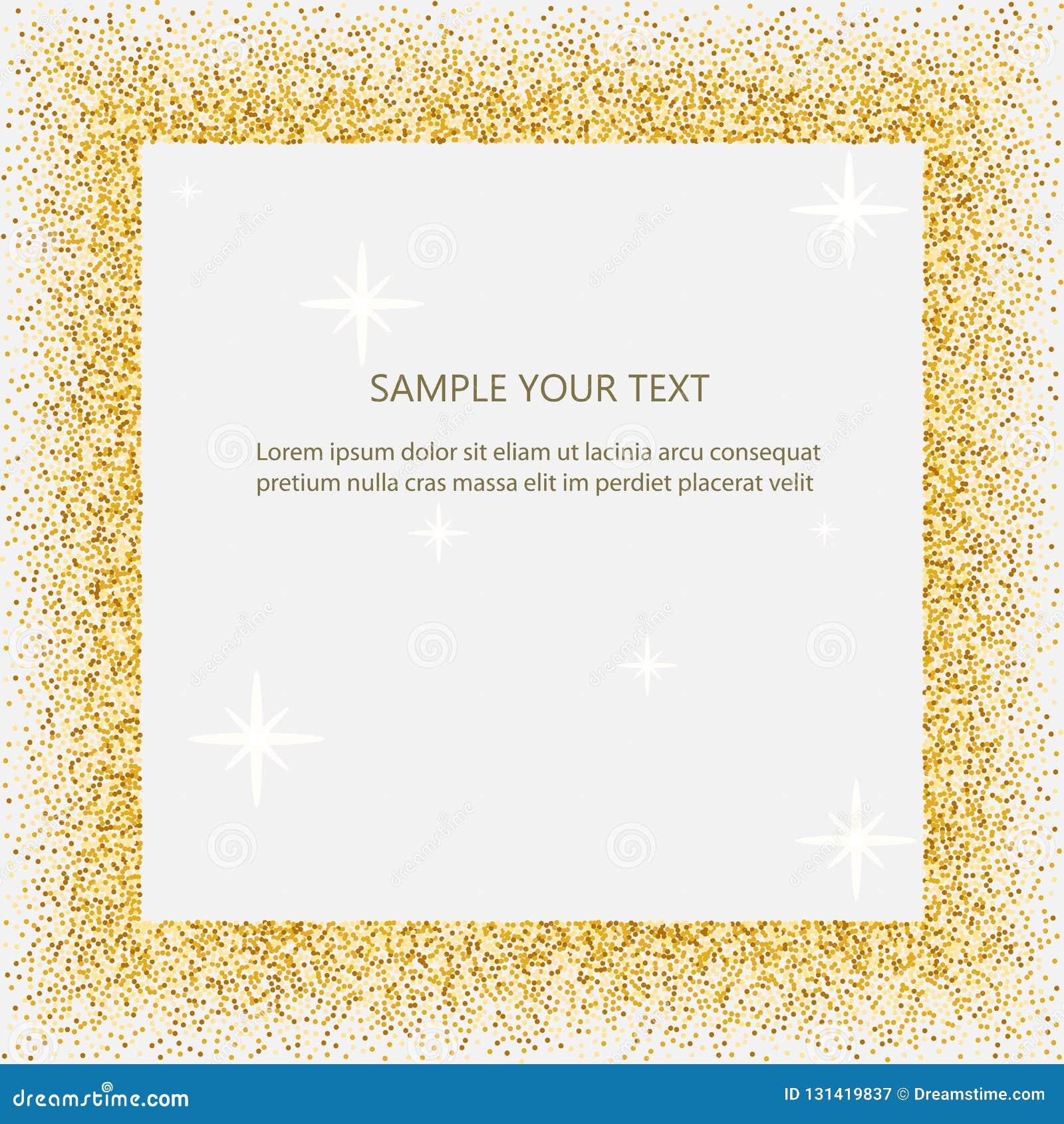 Svart och guld- bakgrund med cirkelramen och utrymme för text guld- damm som är stort för valentin, jul och födelsedag
