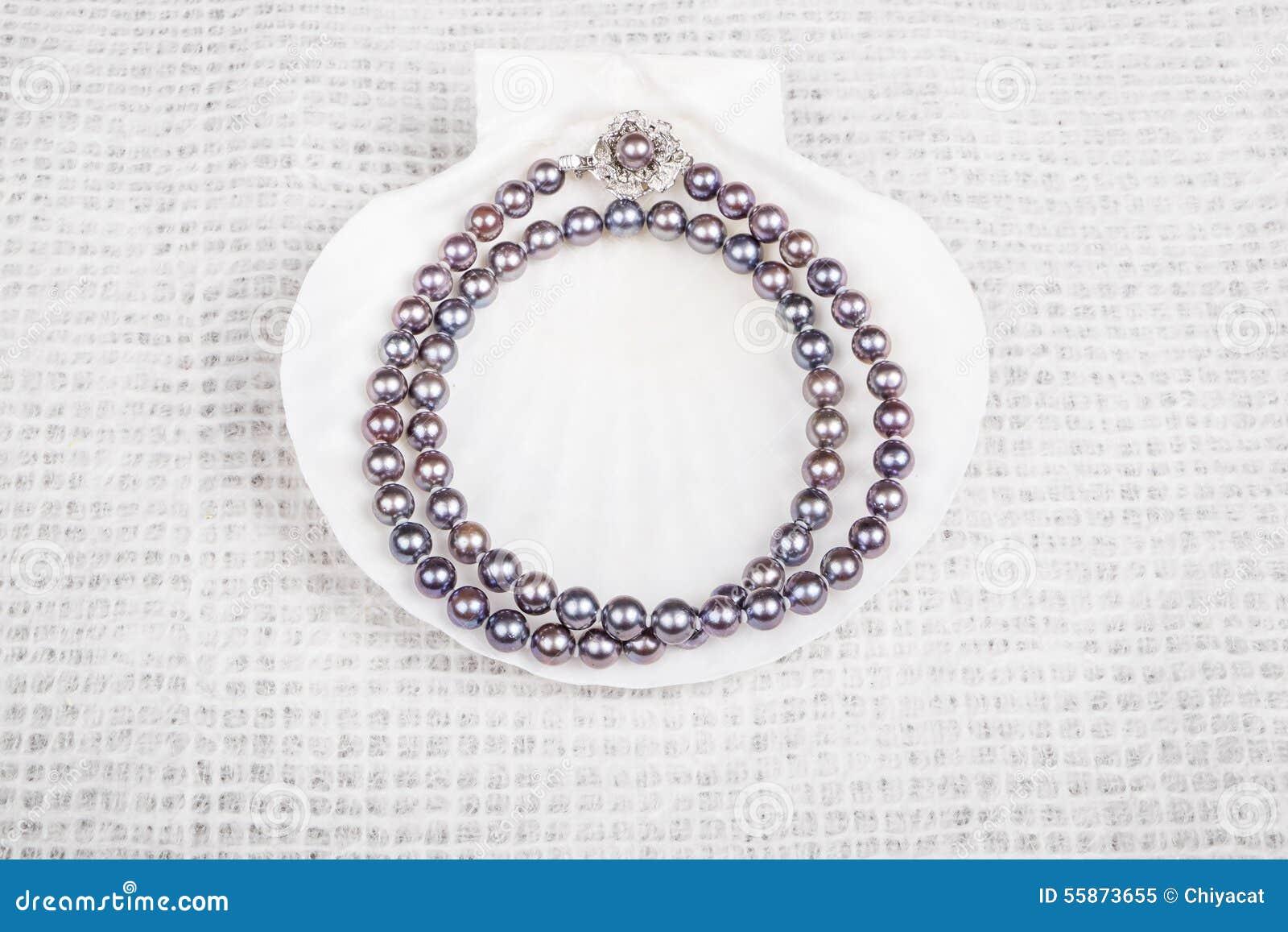 Svart pärlemorfärg halsband #3