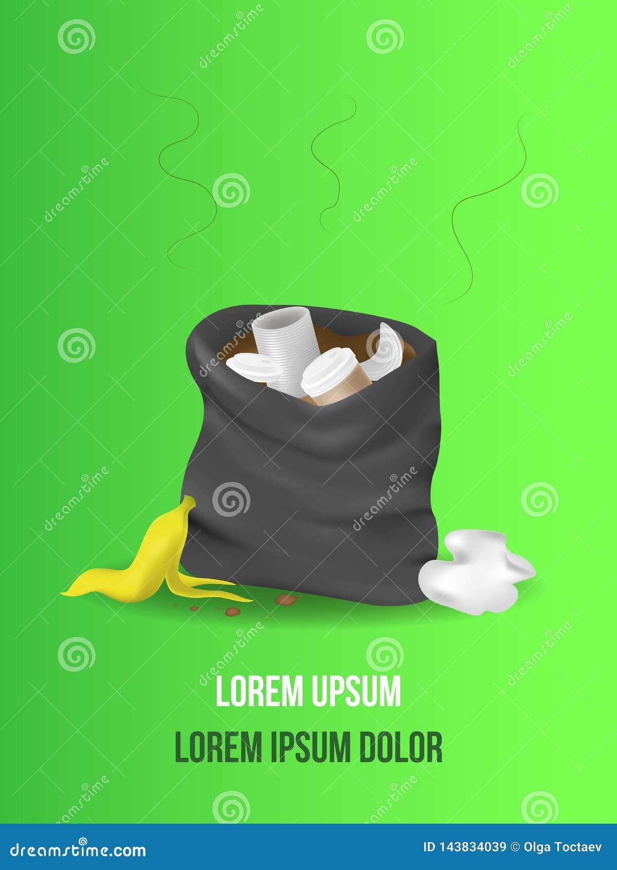 Svart ?ppen avskr?dep?se s?cken rackar ner p? sackful avfall kull skala fr?n bananen, metall kan, skrynkligt papper, papperskopp