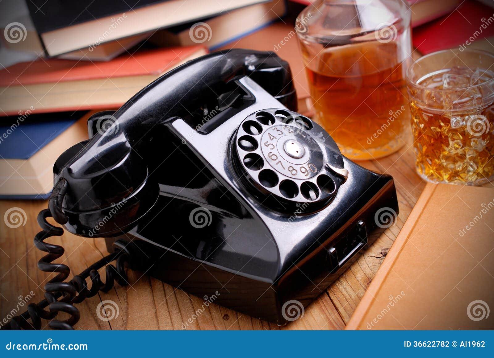 Svart retro telefon
