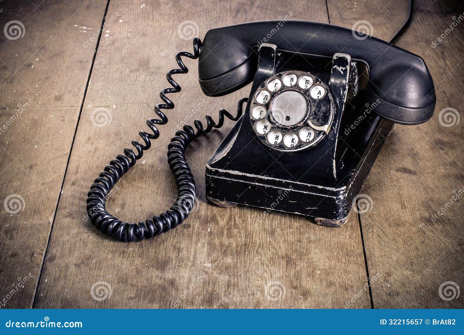 Svart roterande telefon