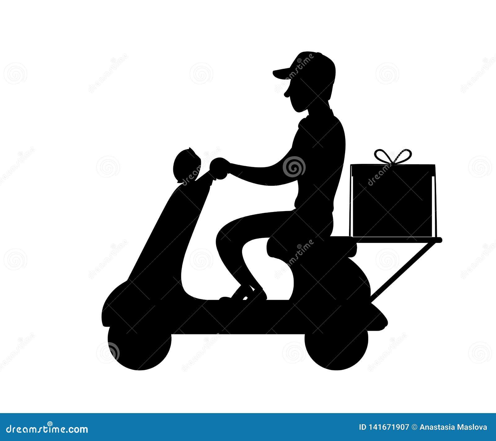 Svart silhouette Leveransman p? sparkcykeln Matkurir Man med baseballm?ssan Plan illustration som isoleras p? vit