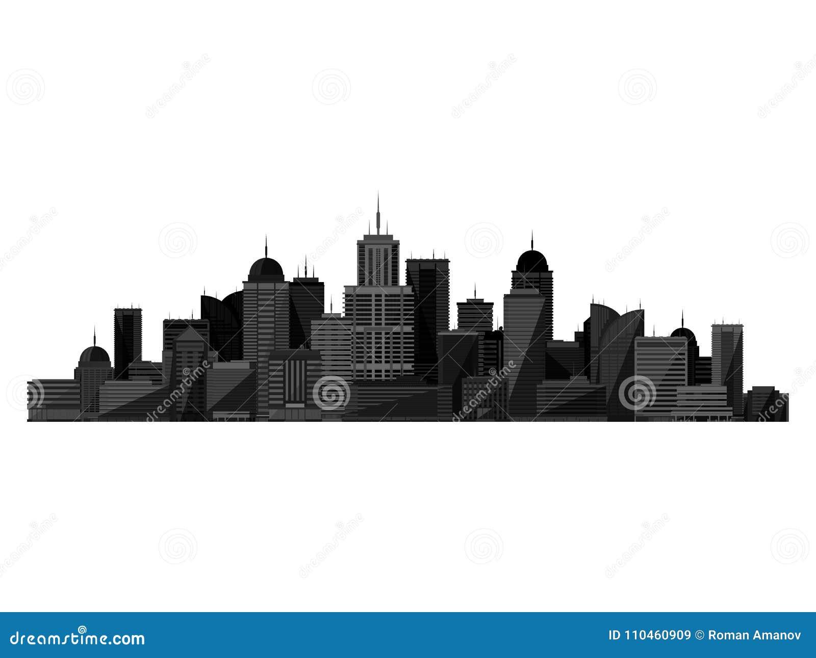 Svart stadskontur för vektor som isoleras på vit bakgrund