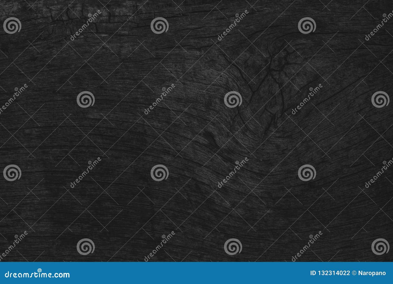 Svart tabellbakgrund för trä, bästa sikt för mörk textur, utrymme grått l