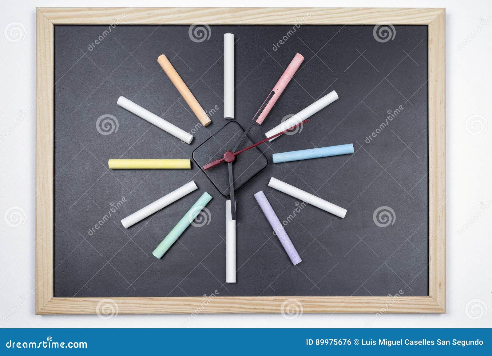 Svart tavla med kulöra chalks