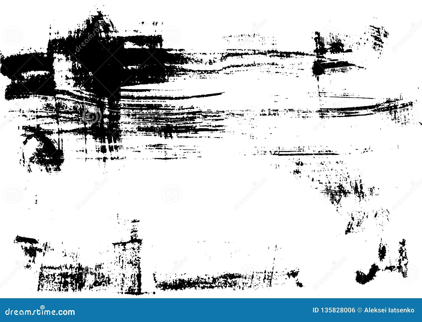 Svart tryckborstetextur på vitbokvektor