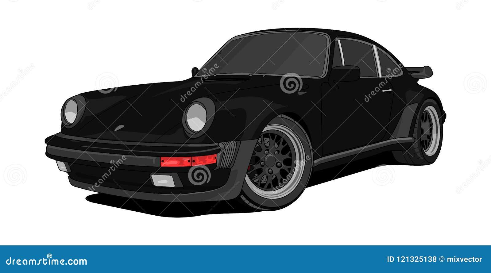 Svart version för Porsche 911 turboladdare i vektor