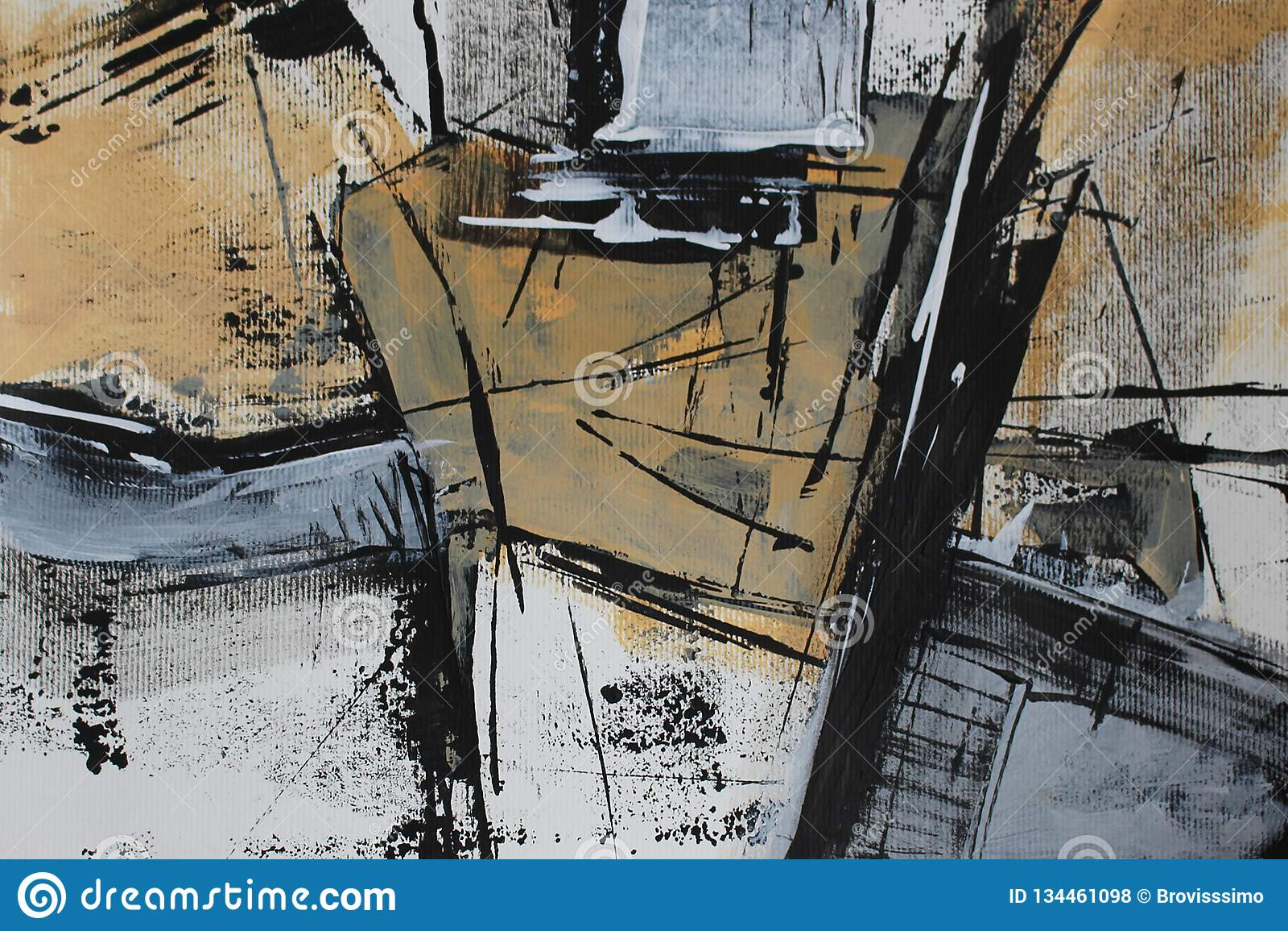Svart vit abstraktion med akrylmålarfärg