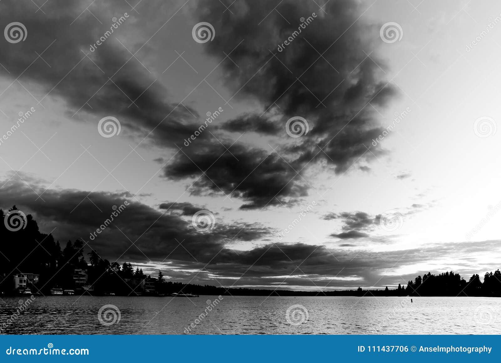 Svart & vit av solnedgången på den Meydenbauer stranden parkerar på Bellevue, Washington, Förenta staterna