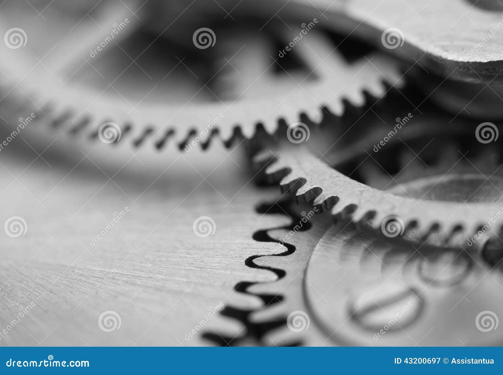 Download Svart Vit Bakgrund Med Metallkugghjulurverk Makro Fotografering för Bildbyråer - Bild av slitning, drev: 43200697