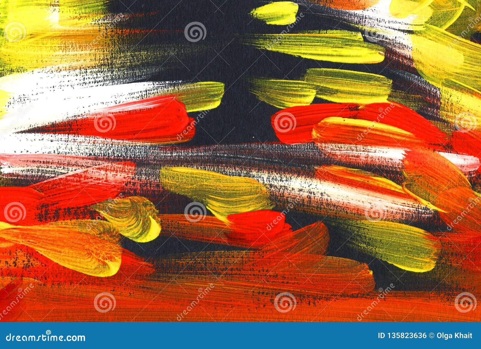 Svart, vit, röd gul abstrakt bakgrund Hand målade illustrationen