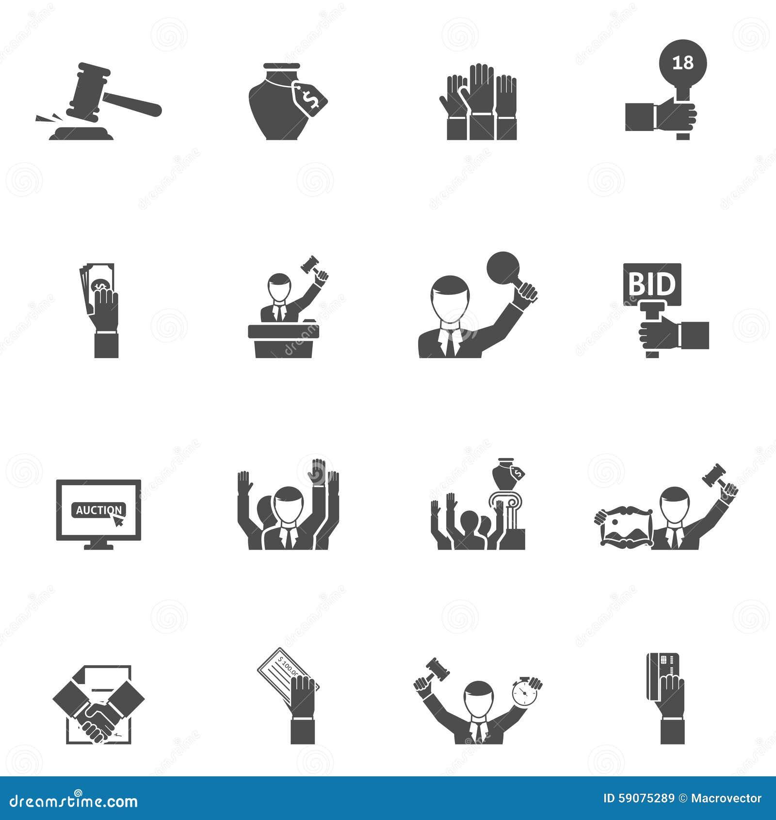 Svart vit symbolsuppsättning för auktion
