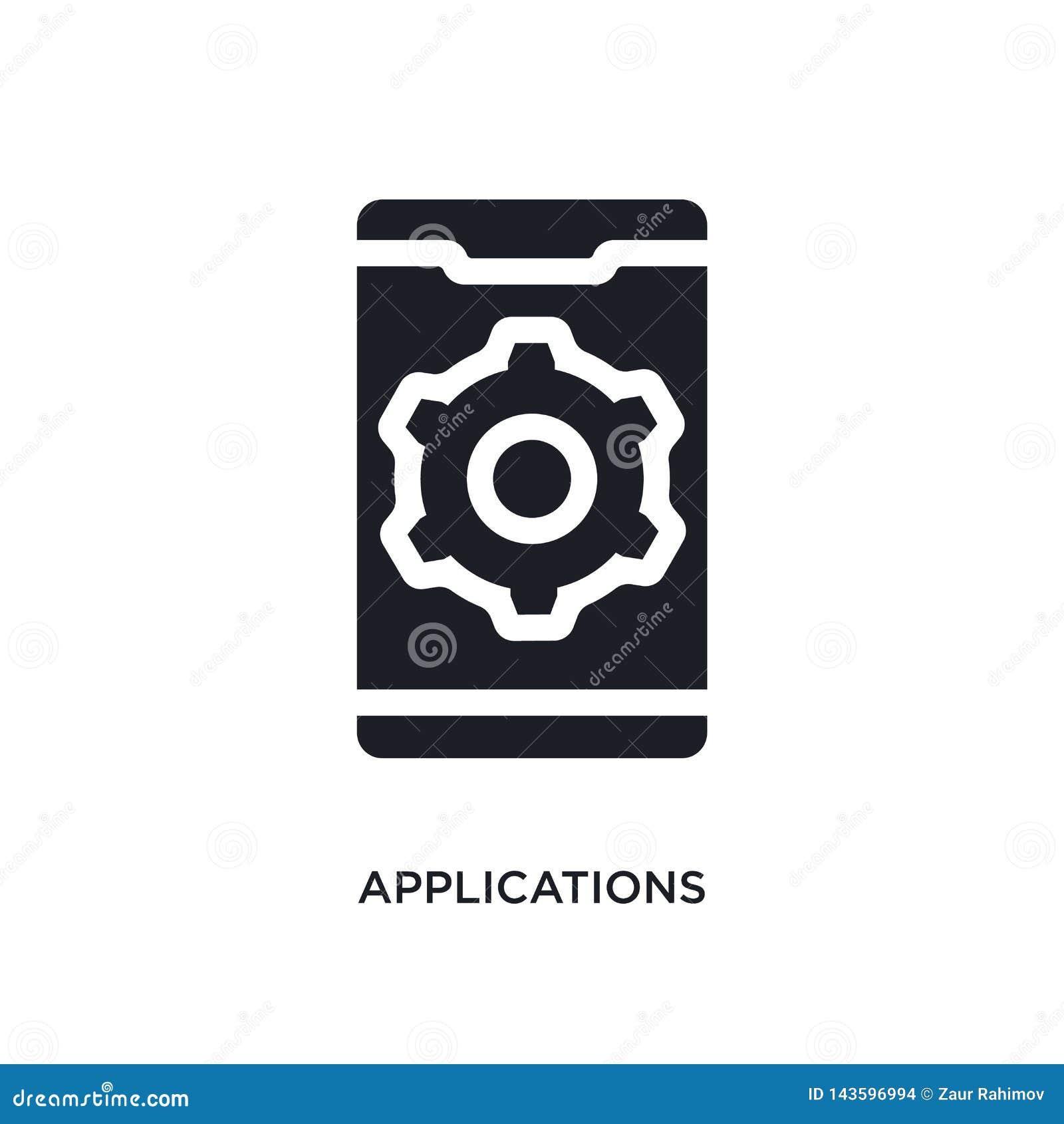 Svarta applikationer isolerad vektorsymbol enkel beståndsdelillustration från mobila symboler för appbegreppsvektor redigerbara a