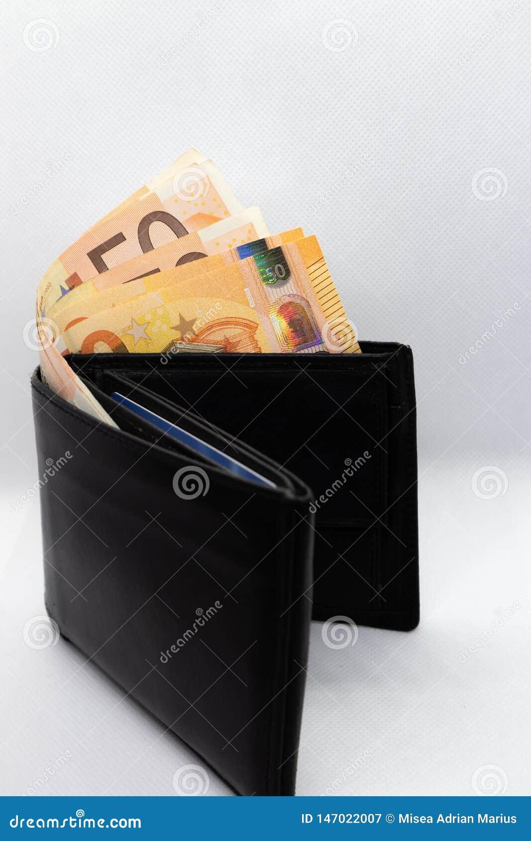 Svarta plånbok- och eurosedlar