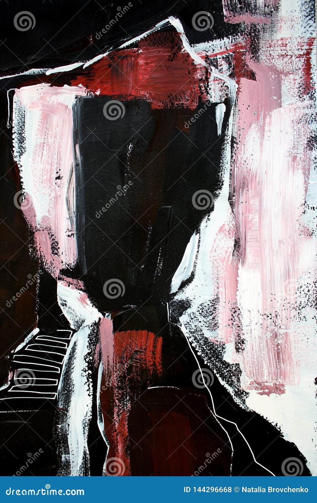 Svarta röda färger på kanfas abstrakt konstbakgrund Färgtextur Fragment av konstverk abstrakt kanfasmålning