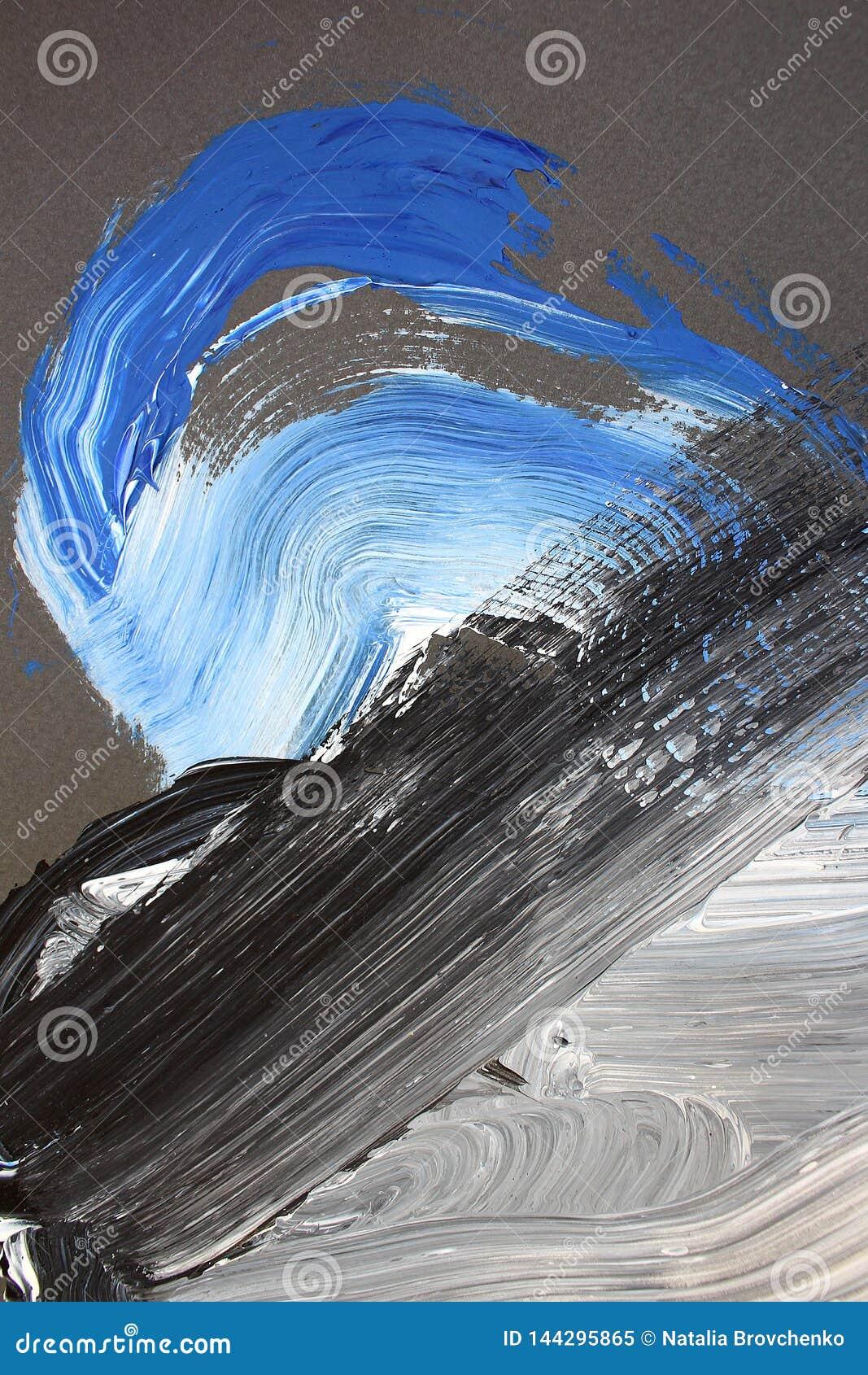 Svarta vita borsteslaglängder på kanfas abstrakt konstbakgrund F?rgtextur Fragment av konstverk abstrakt kanfasm?lning