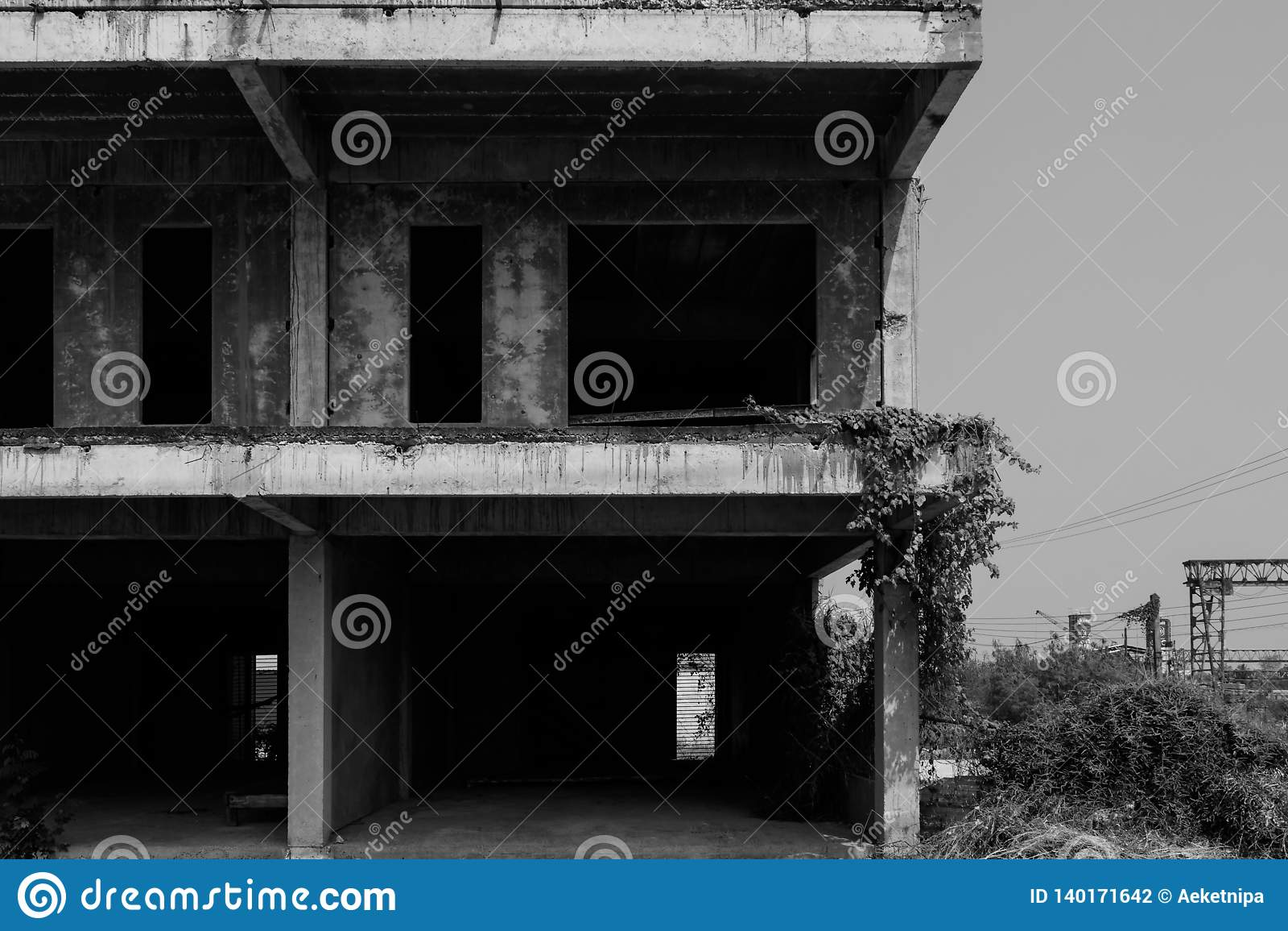 Svartvit övergiven byggnad