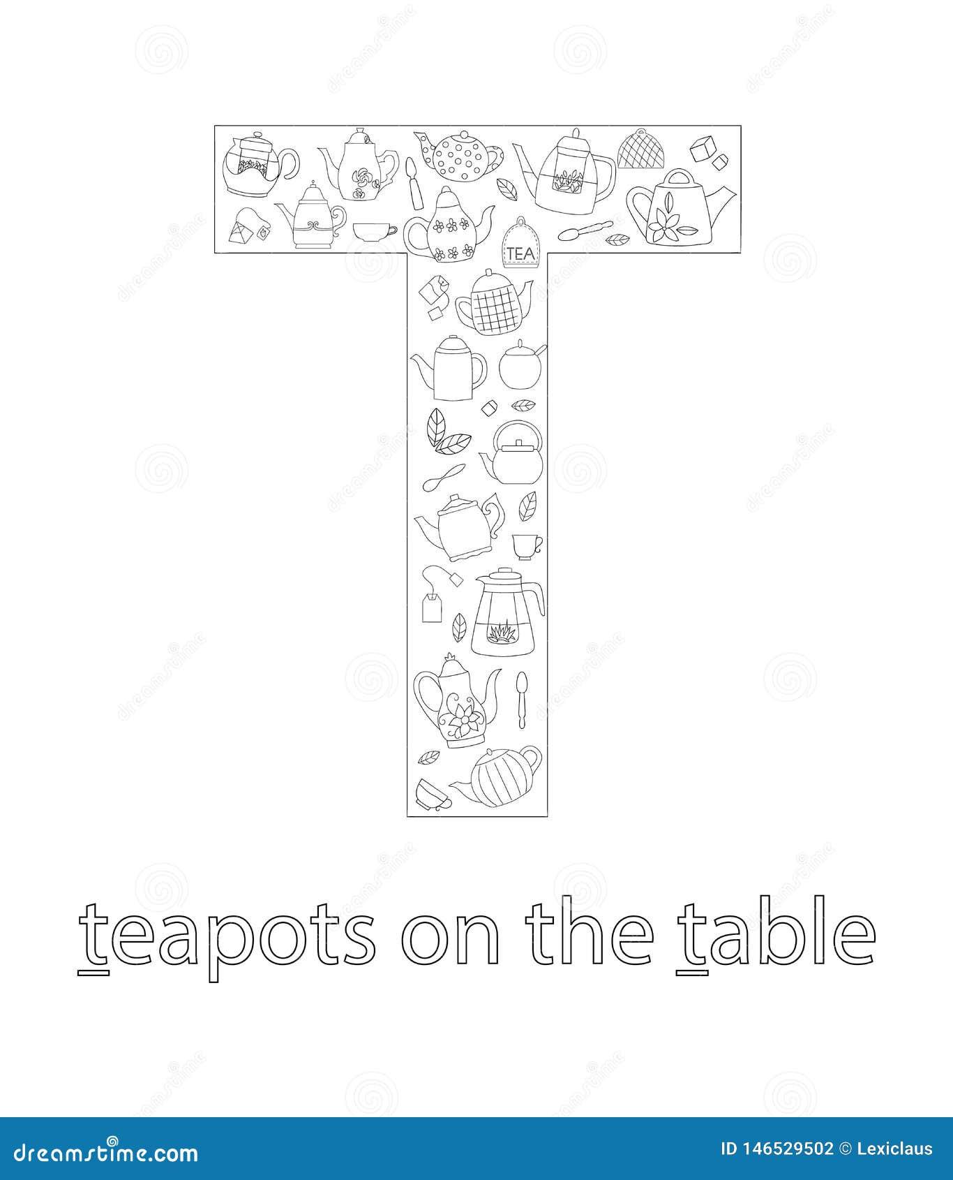 Svartvit alfabetbokstav T abcflashcard