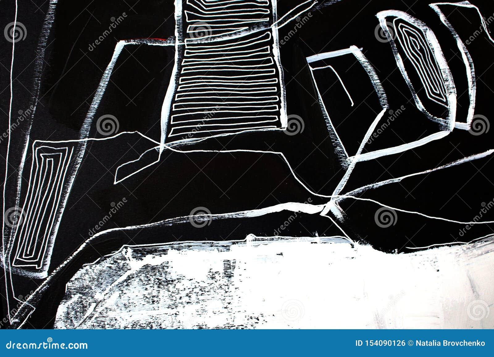 Svartvit bakgrund för konstabstrakt begreppkonst Akrylm?lning p? kanfas F?rgtextur Fragment av konstverk penseldrag
